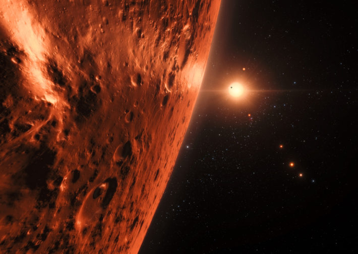 Artist's impression of the TRAPPIST-1 planetary system. ESO/N. Bartmann/spaceengine.org