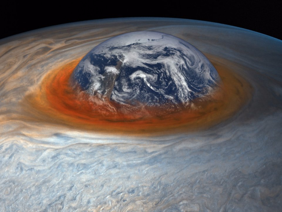 An illustration comparing the size of Jupiter's Great Red Spot to that of Earth