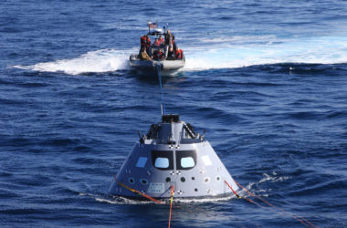 Orion spacecraft recovery rehearsal is underway in the Pacific Ocean.