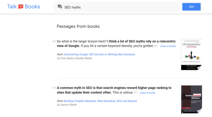 Talk to Books showing results about seo myths