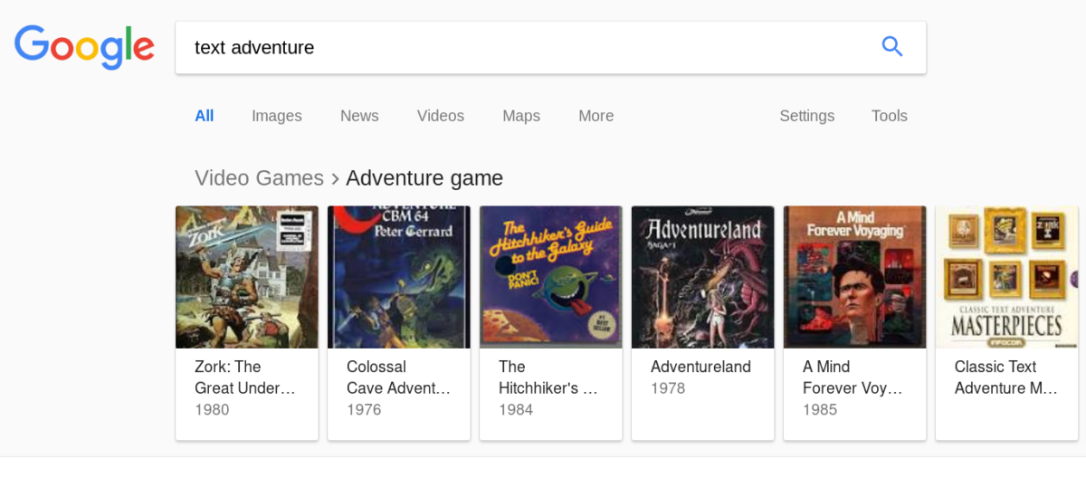 Searching text adventure on Google