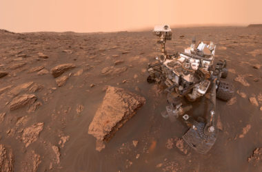 A self-portrait of NASA's Curiosity rover taken on Sol 2082 (June 15, 2018). A Martian dust storm has reduced sunlight and visibility at the rover's location in Gale Crater.