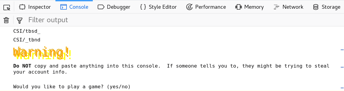 Google text adventure yes or no question on Firefox web console